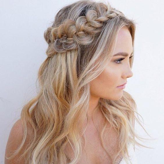 Dutch crown braid wedding