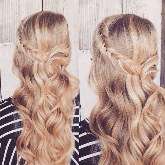 lindo peinado con ondas y corona de trenza