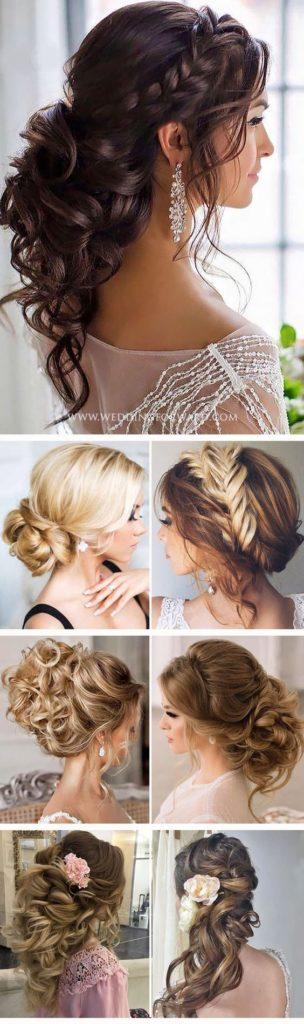 imagen con muchos peinados con ondas bucles y trenzas
