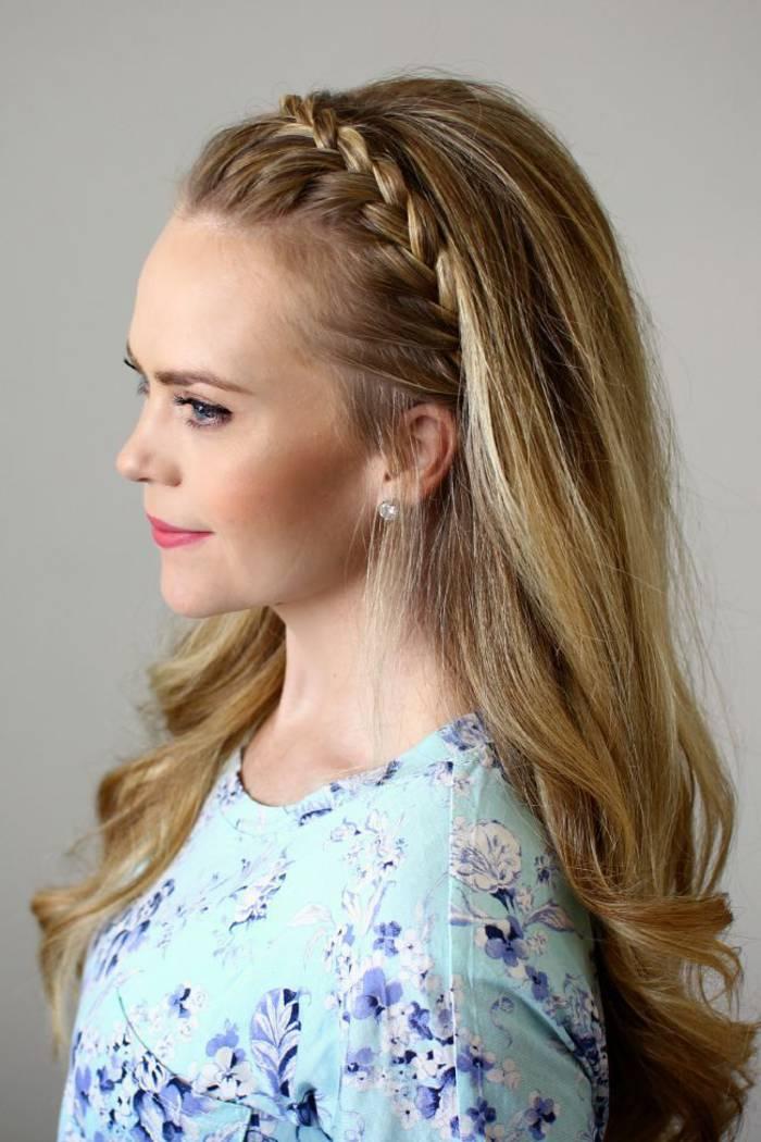 bonito peinado con trenza diadema y cabello suelto - Peinados Con Trenzas