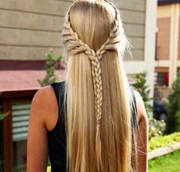 Peinados Para Cabello Lacio Largo Suelto Y Faciles De Peinados - Peinados-con-trenzas-y-pelo-suelto