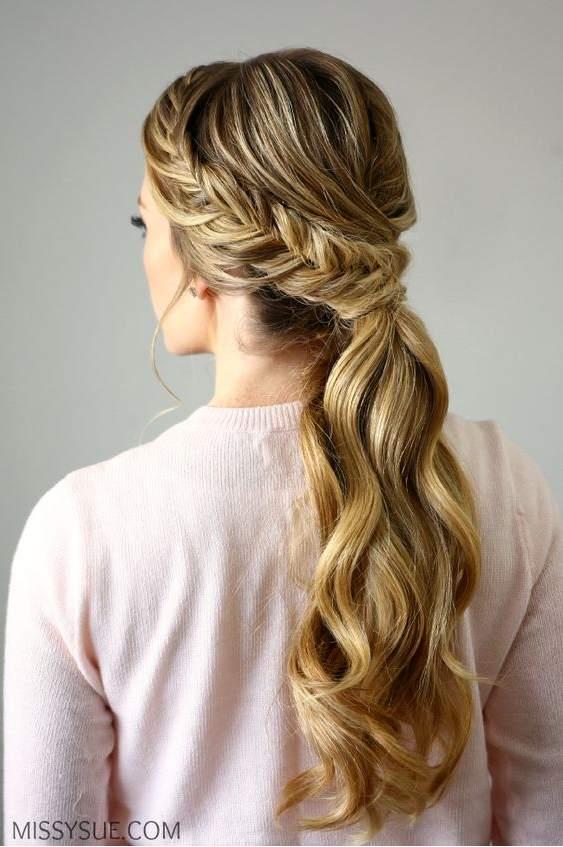 Peinados De Lado Semirecogidos Con Ondas Bucles Y Trenzas De - Peinado-semirecogido-con-trenza