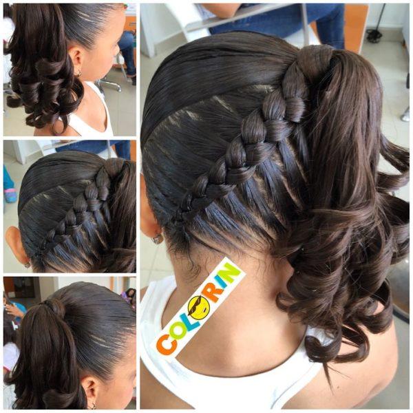 coleta de pelo con una trenza super original - Peinados De Trenzas Faciles