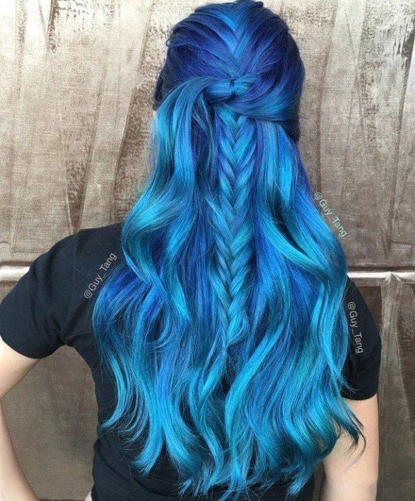 Cabello puntas azules tumblr